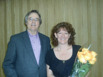 Bill Baker, Contest Chair, and Paula Howley, winner of both contests.