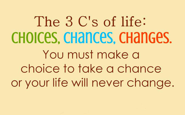 Three Cs of Life: Choices Chances and Change