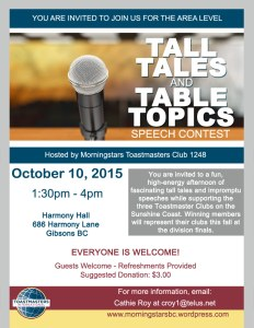 Sunshine Coast Tall Tales Table Topics Speech Conetst 2015